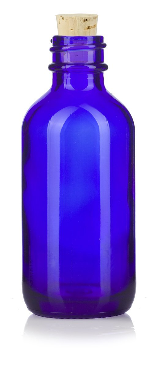 2 oz Cobalt Blue Glass Boston Round Bottle with Cork Stopper Closure + Funnel and Labels