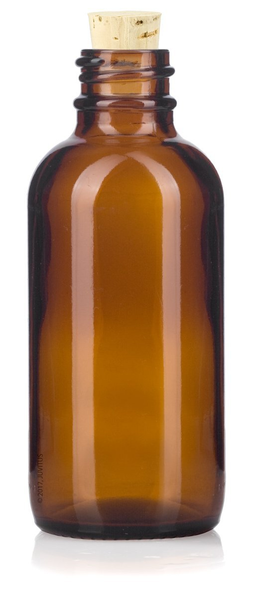 2 oz Amber Glass Boston Round Bottle with Cork Stopper Closure + Funnel and Labels