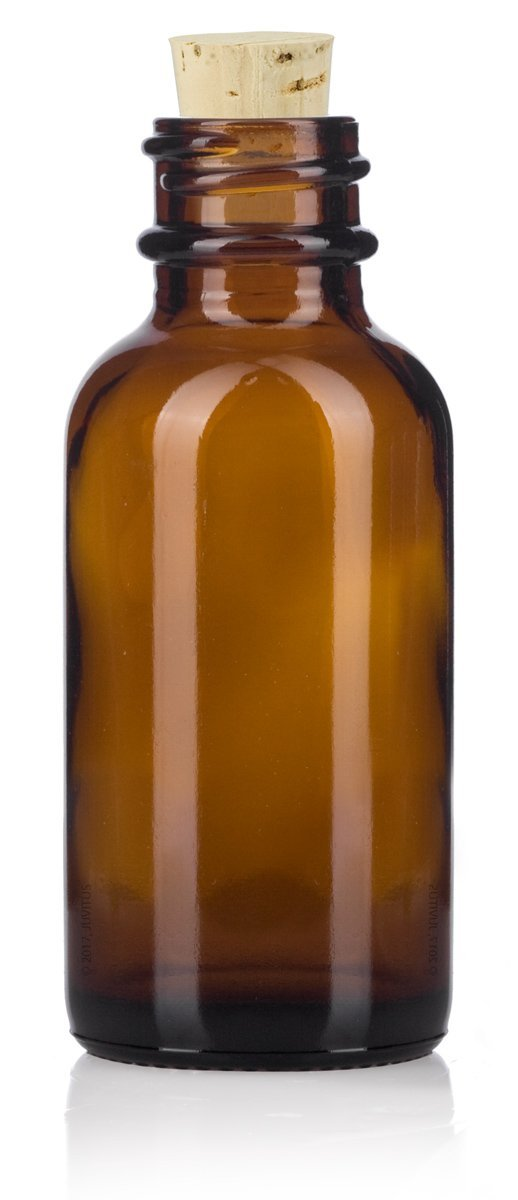 Glass Boston Round Bottle in Amber with Natural Cork Top - 1 oz / 30 ml