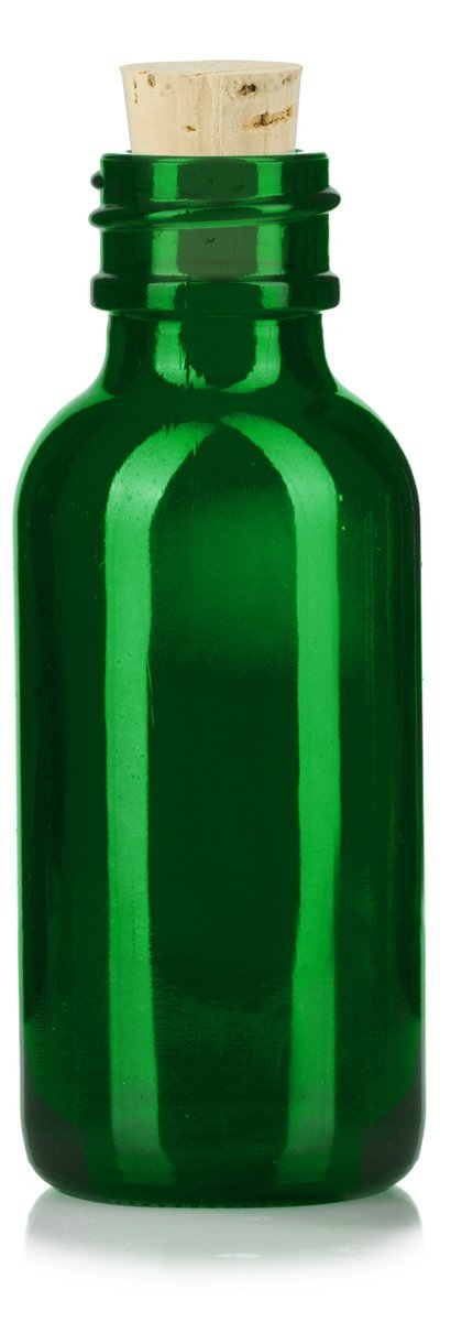 Glass Boston Round Bottle in Green with Natural Cork Top - 1 oz / 30 ml