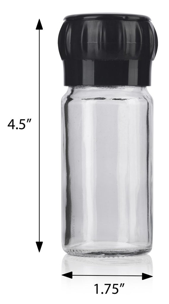 Clear Glass Refillable Spice Jar with Black Grinder and Snap On Cap 3.4 oz / 100 ml (2 pack) + Labels