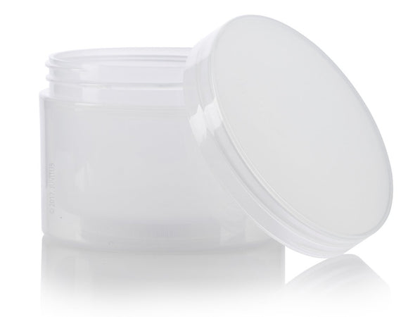 Plastic Double Wall Jar in Natural Clear with Natural Clear Lid - 8 oz / 240 ml