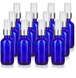 Cobalt Blue Glass Boston Round Treatment Pump Bottle with Silver and White Top - 2 oz / 60 ml