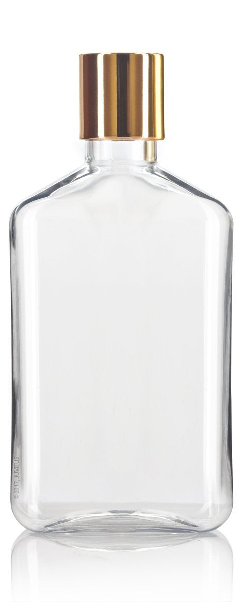 Plastic Flask Bottle in Clear with Gold Disc Cap - 8 oz / 250 ml