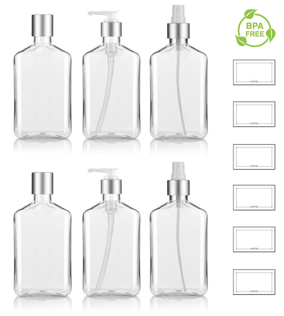 8 oz / 250 ml Clear PET (BPA Free) Plastic Oblong Flask Style Refillable Bottle Set with Silver Tops ; Includes 2 of each Fine Mist Sprayers, Disc Caps, and Lotion Pumps