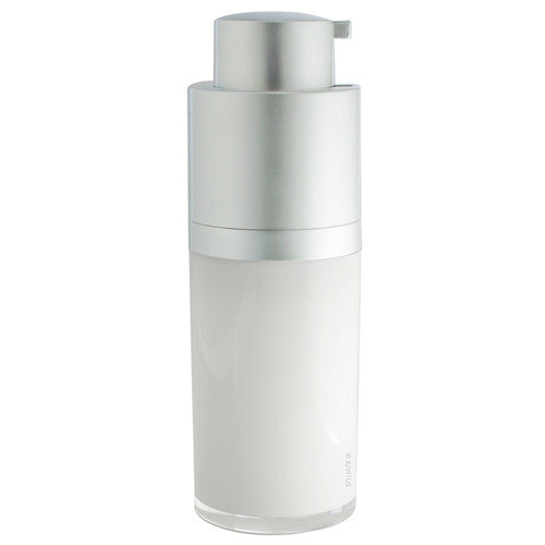 Twist Top Airless Pump Bottle in White Silver Matte - .5 oz / 15 ml + Travel Bag