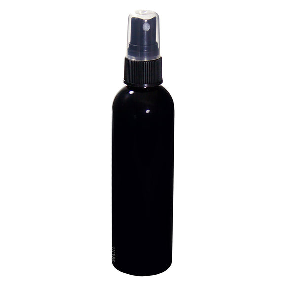 Black Plastic Slim Cosmo Bottle with Black Fine Mist Spray - 4 oz / 120 ml