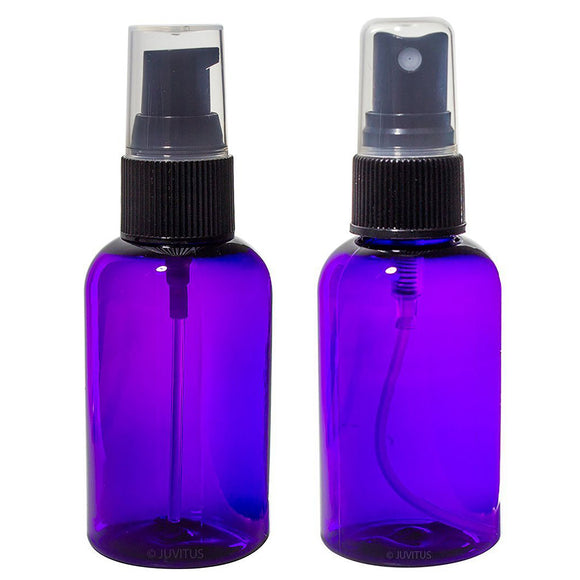 Purple PET (BPA Free) Refillable Plastic Bottles with Black Sprayers and Pumps - 2 oz (6 Pack)