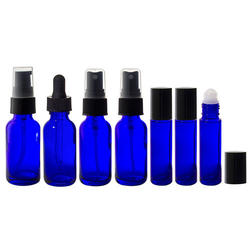 Cobalt Blue Glass Bottle 7-piece Starter Kit - 1 oz Perfect for DIY, Essential Oils, Aromatherapy, Travel and Home.
