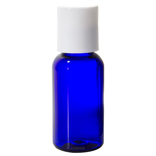Cobalt Blue Plastic Boston Round Bottle with White Disc Cap - 1 oz / 30 ml