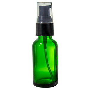 Green Glass Boston Round Treatment Pump Bottle with Black Top - 1 oz / 30 ml Travel Bag