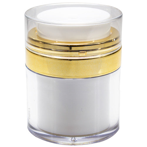 Refillable Airless Jar in White and Gold - 1 oz / 30 ml
