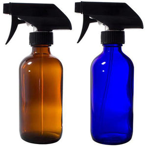 Cobalt Blue and Amber Boston Round Thick Glass Spray Bottle Set - 8 oz Set
