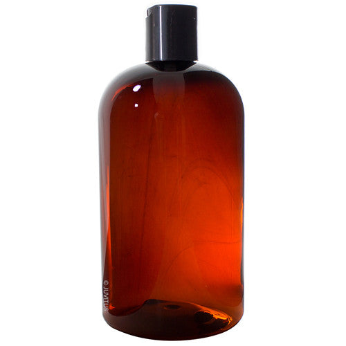 Amber Plastic Boston Round Bottle with Black Disc Cap - 16 oz / 500 ml