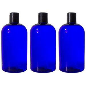 Cobalt Blue Plastic Boston Round Bottle with Black Disc Cap - 16 oz / 500 ml