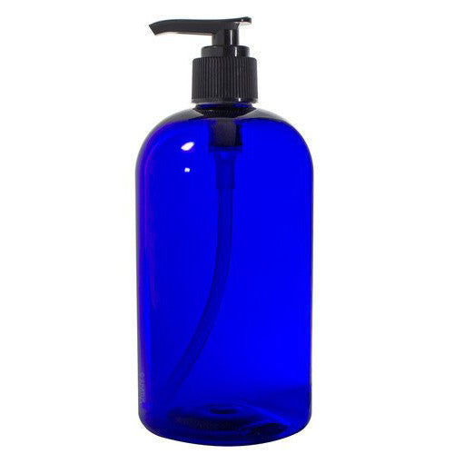 Cobalt Blue Boston Round PET Bottles (BPA Free) with Black Lotion Pump - 16 oz + Labels