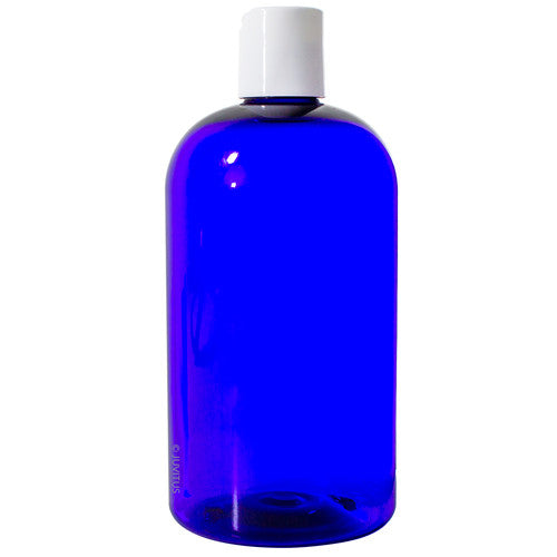 Cobalt Blue Boston Round PET Bottles (BPA Free) with White Disc Cap Dispenser - 16 oz + Labels