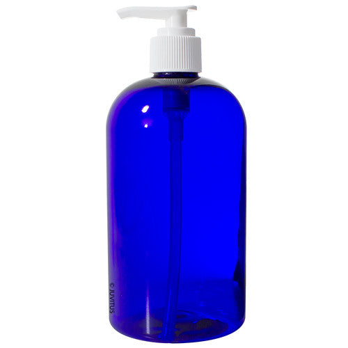 Cobalt Blue Boston Round PET Bottles (BPA Free) with White Lotion Pump - 16 oz + Labels