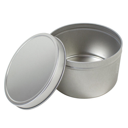 Large Metal Steel Tin Deep Container with Tight Sealed Cover Lid - 16 oz + Measuring Cup
