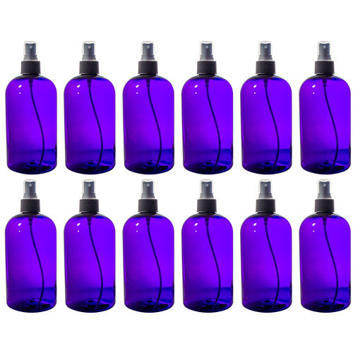Purple Boston Round PET Bottles (BPA Free) with Black Fine Mist Sprayer - 16 oz + Labels