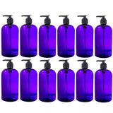 Plastic Boston Round Bottle in Purple with Black Lotion Pump - 16 oz / 500 ml