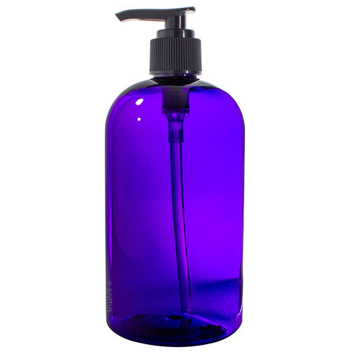 Purple Boston Round PET Bottles (BPA Free) with Black Lotion Pump - 16 oz + Labels