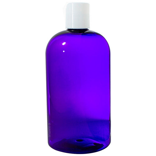 Plastic Boston Round Bottle in Purple with White Disc Cap - 16 oz / 500 ml