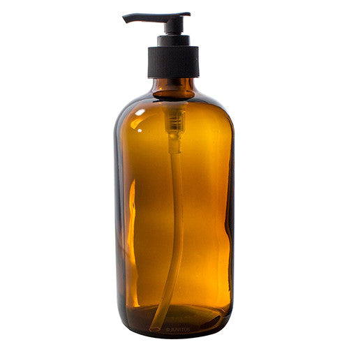 Glass Boston Round Bottle in Amber with Black Lotion Pump - 16 oz / 500 ml
