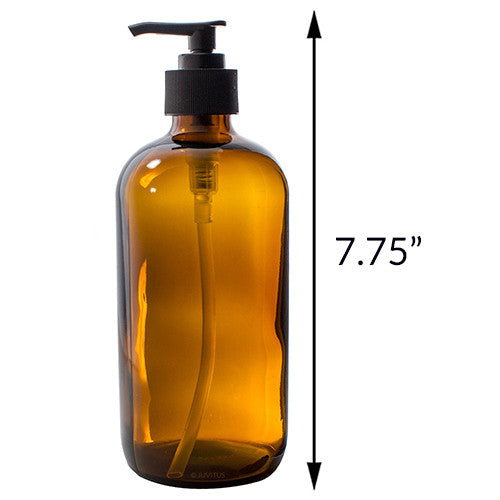 Amber Boston Round Thick Plated Glass Spray and Pump Bottle Set - 16 oz + Labels