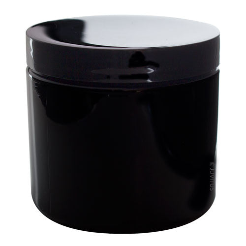 Plastic Jar in Black with Black Foam Lined Lid - 16 oz / 480 ml