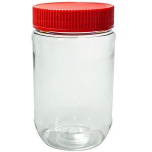 Plastic Peanut Butter Jar in Clear with Red Ribbed Foil Lined Lid - 17 oz / 500 ml