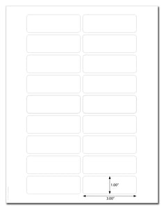 "Standard White Matte 3"" x 1"" Round Corner Rectangle Labels with Template and Printing Instructions, 10 Sheets, 180 Labels (XR31)"