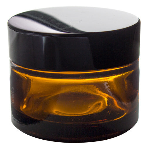 Amber Glass Heavy Thick Wall Balm Jars with Black Smooth Lids - 1.35 oz
