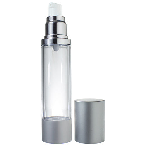 Refillable Airless Pump Bottle in Silver Matte - 1.7 oz / 50 ml
