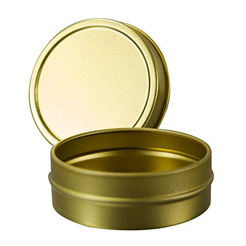 Gold Metal Steel Tin Flat Containers with Tight Sealed Lids - 1 oz