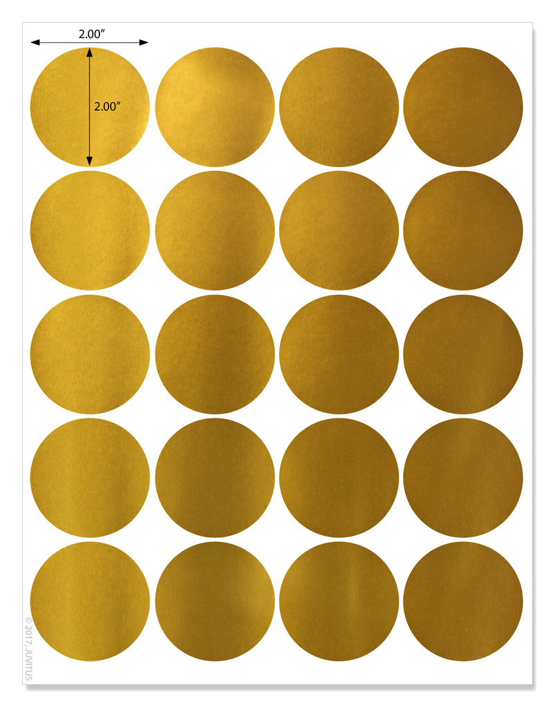 Shiny Gold Foil 2 Inch Diameter Circle Labels For Laser Printers