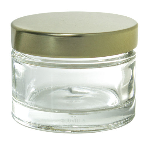 Clear Glass Heavy Wall Balm Jars with Gold Metal Foam Lined Lids - 1 oz + Spatulas and Labels