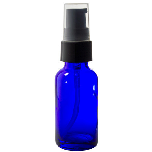 Glass Boston Round Bottle in Cobalt Blue with Black Treatment Pump - 1 oz / 30 ml Travel Bag