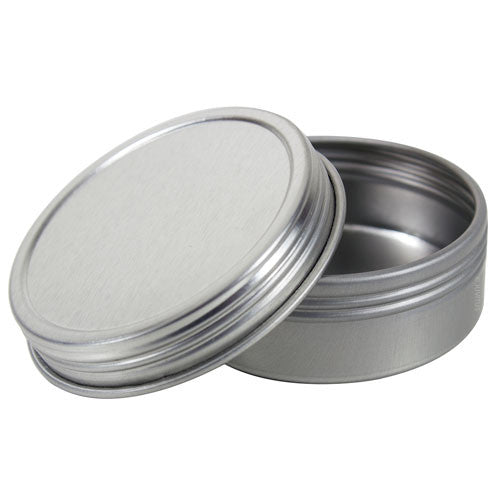Metal Steel Tin Flat Container with Tight Sealed Twist Screwtop Cover - 1 oz + Labels