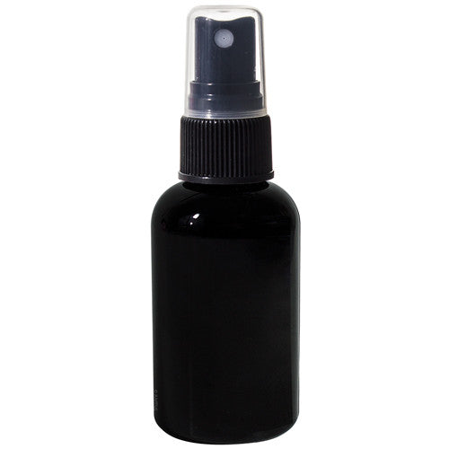 Black Plastic Boston Round Fine Mist Spray Bottle with Black Sprayer - 2 oz / 60 ml