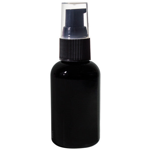 Black Plastic Boston Round Treatment Pump Bottle with Black Top - 2 oz / 60 ml