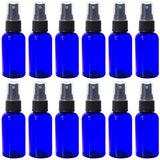 Cobalt Blue Boston Round PET Bottles (BPA Free) with Black Fine Mist Sprayer - 2 oz + Labels