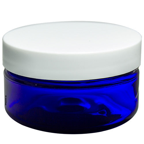 Cobalt Blue Heavy Wall Plastic (BPA Free) Refillable Low Profile Jar with White Lid - 2 oz + Spatulas and Labels