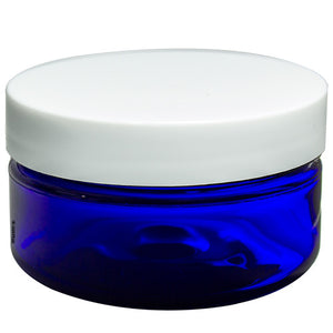 Plastic Heavy Wall Low Profile Jar in Cobalt Blue with White Foam Lined Lid - 2 oz / 60 ml