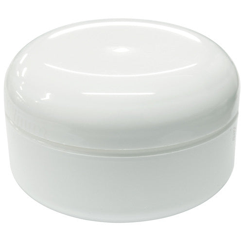 White Low Profile Double Wall Rounded Plastic Jar with Dome Lid - 2 oz + Spatulas and Labels