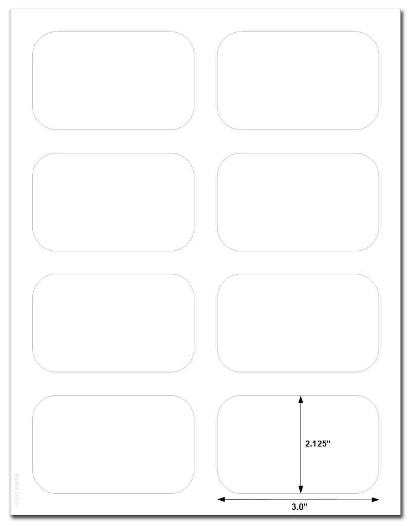 "Waterproof White Matte 3.5"" x 2.125"" Round Corner Rectangle Labels for Laser Printer with Template and Printing Instructions, 5 Sheets,  40 Labels (RG35)"