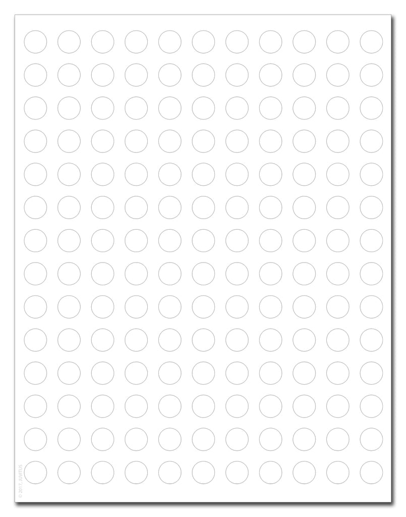 Waterproof White Matte 0.5 Inch Diameter Circle Labels for Laser Printer with Template and Printing Instructions, 5 Sheets, 770 Labels (JC50)