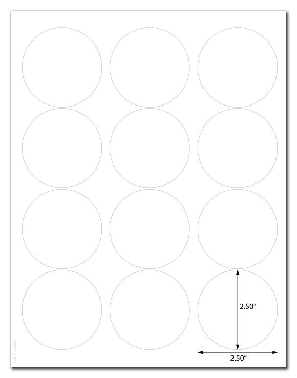 Waterproof White Matte 2.5 Inch Diameter Circle Labels for Laser Printer with Template and Printing Instructions, 5 Sheets,  60 Labels (JC25)