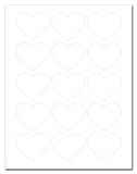 Waterproof White Matte Heart Shaped Labels, 2.2 x 1.8 Inches, for Laser Printer with Downloadable Template and Printing Instructions, 5 Sheets, 75 Labels (HRT2)