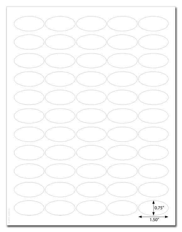 Waterproof Clear Gloss 1.5 x 0.75 Inch Oval Labels for Laser Printer with Downloadable Template and Printing Instructions, 5 Sheets, 275 Labels (CL15)